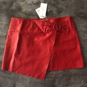 NWT ba&sh Braddy Leather Wrap-Front Mini Skirt